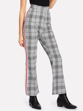 Ericdress Plaid High-Waist Women's Pants