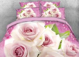 Vivilinen 3D Pale Pink Roses Printed 4-Piece Pink Bedding Sets/Duvet Cover