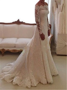 Ericdress Elegant Off The Shoulder Long Sleeves Wedding Dress