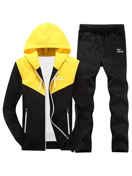 Ericdress Patchwork Hoodies Pants Men's Sweat Suit