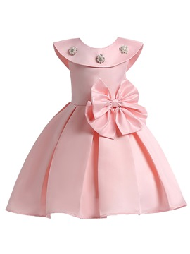 Ericdress Ruffled Collar Bowknot Pleated Girl's Princess Dress