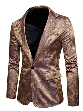 Ericdress Notched Lapel Slim Fit Pocket Print Men's Blazer