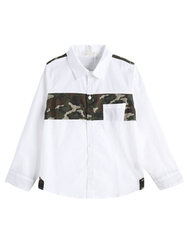 Ericdress Lapel Camouflage Patchwork Boys' Shirt
