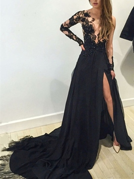 Ericdress Scoop Neck Appliques Split-Front Evening Dress Black Wedding Dresses