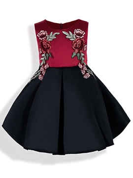 Ericdress Color Block Floral Applique Pleated Girl's Dress