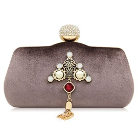 Ericdress Tassel Pearl Decoration Velvet Clutch