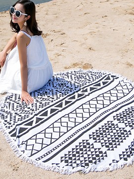 Ericdress Geometric Pattern Tassel Trim Beach Blanket