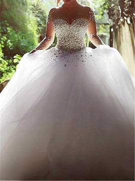 Ericdress Illusion Neck Beading Ball Gown Wedding Dress with Long Sleeves