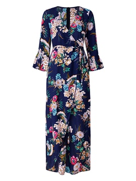 Ericdress V-Neck Flare Sleeve Women's Floral Print Maxi Dress