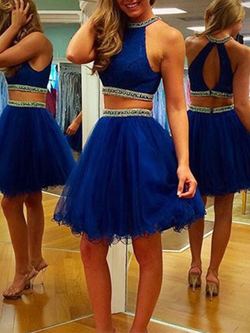 Ericdress Chic Two Pieces Halter Beaded Short Cocktail Dress