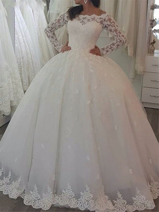 Ericdress Off the Shoulder Long Sleeves Ball Gown Wedding Dress