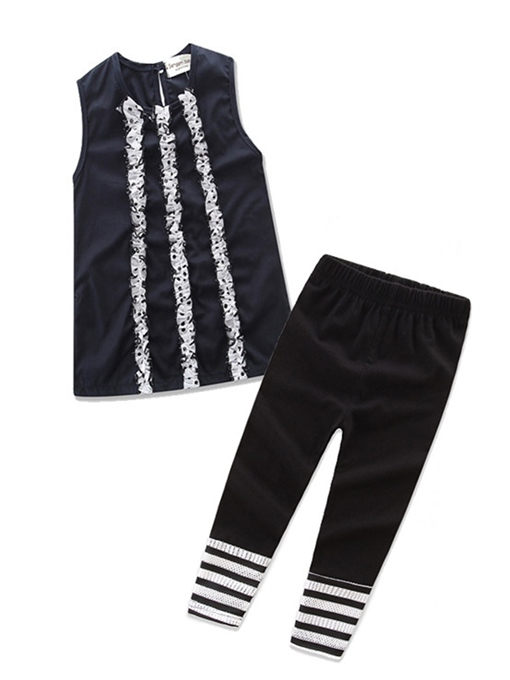Ericdress Falbala Patchwork Vest with Stripe Pants Girls' Outfit