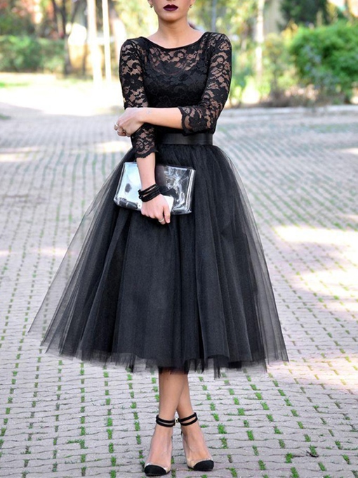Ericdress Black Lace Tea-Length Evening Dress with Sleeves Black Wedding Dresses