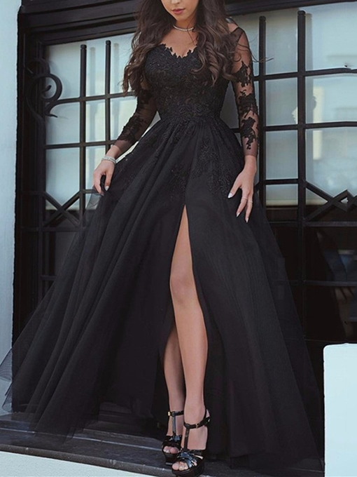 Ericdress A Line Long Sleeve Applique Black Evening Gown With Side Slit