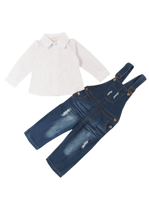 Ericdress Plain Shirt with Denim Overalls Girls' Outfit