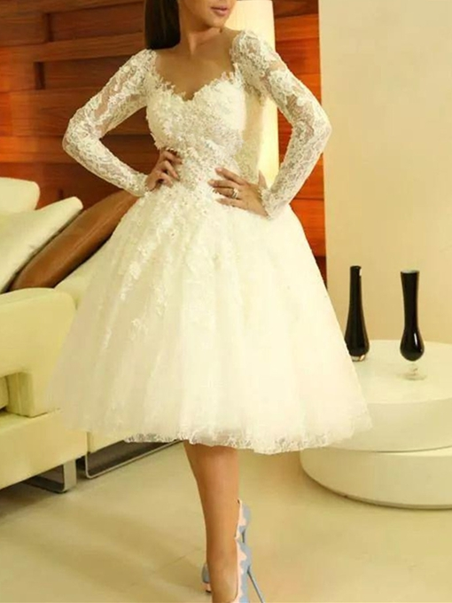Ericdress Long Sleeve V Neck Lace Ball Gown Homecoming Dress