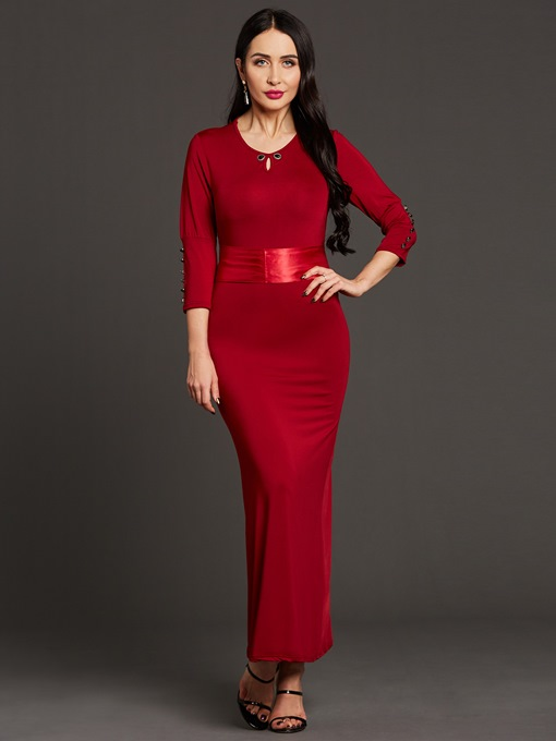 Ericdress Solid Color Lace-Up Hollow Maxi Dress