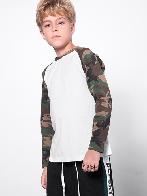 Ericdress Camouflage Sleeve Cotton Boys' T-shirt