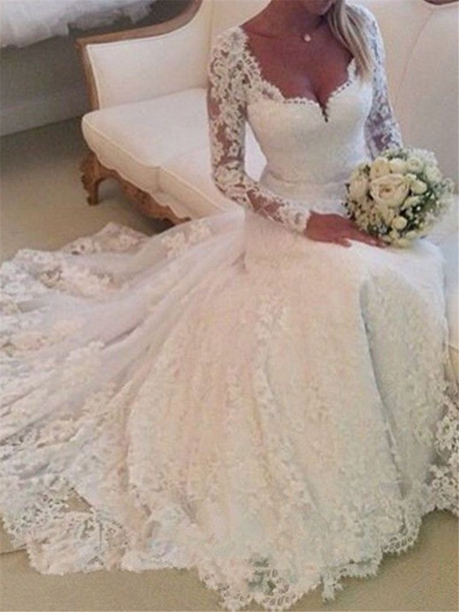 Ericdress Button Appliques Lace Long Sleeves Wedding Dress