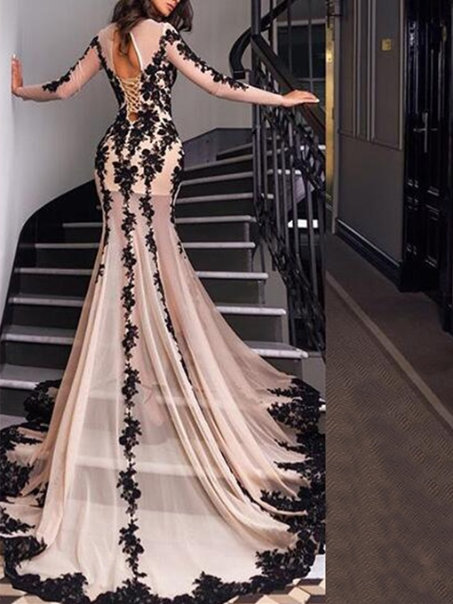 Ericdress Long Sleeves Lace Appliques Mermaid Evening Dress