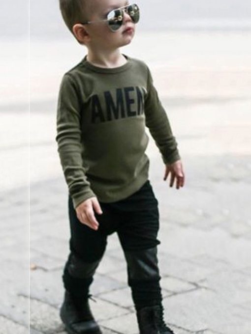 Ericdress Letter Print Patchwork Boys' Outfit