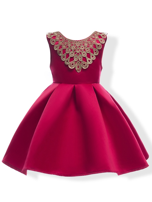 Ericdress Floral Applique Pleated Sleeveless Girl's Princess Dress