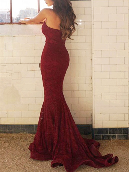 Ericdress Sweetheart Lace Mermaid Evening Dress With Sweep Train