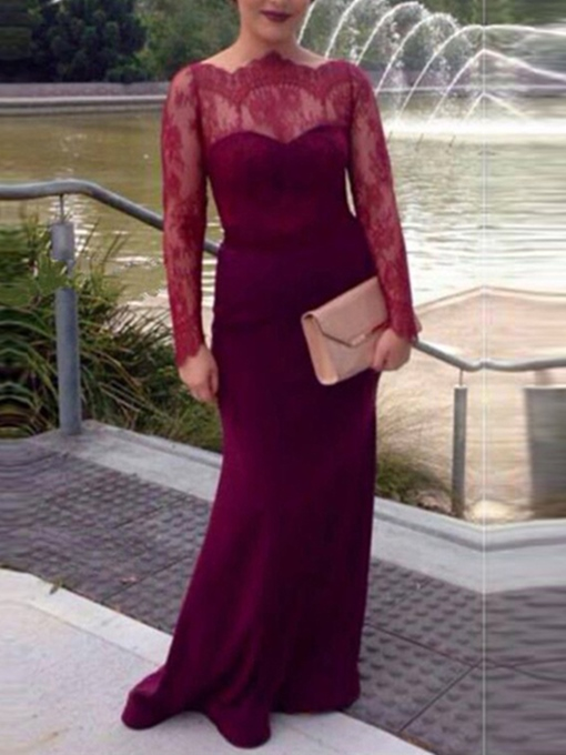 Ericdress Off-the-Shoulder Long Sleeves Button Lace Evening Dress 2019