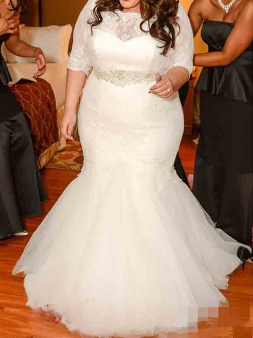 Ericdresss Half Sleeve Lace Mermaid Plus Size Wedding Dress