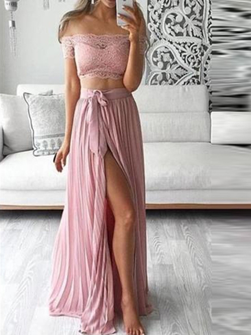 Ericdress Off-The-Shoulder 2 Pieces Lace Prom Dress 2019