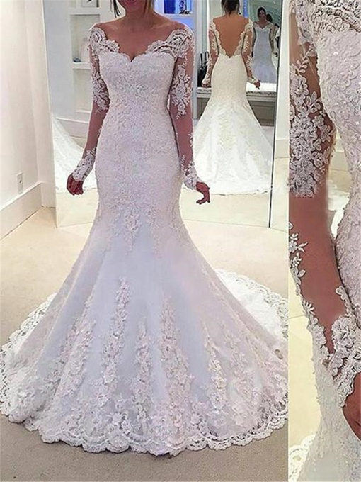 Ericdress Mermaid Appliques Long Sleeve Wedding Dress