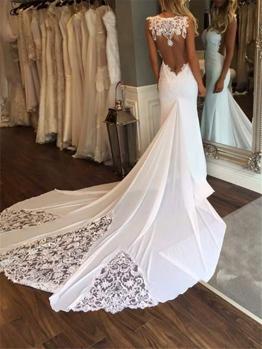 Ericdress Sexy Appliques Backless Mermaid Wedding Dress 2019