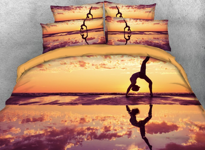 Vivilinen 3D Seaside Partner Yoga Printed 4-Piece Bedding Sets/Duvet Cover