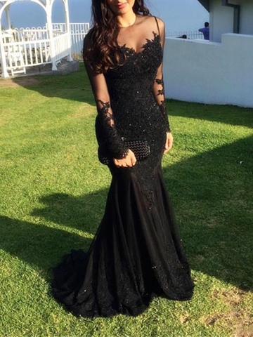 Ericdress Long Sleeve Lace Black Mermaid Evening Dress