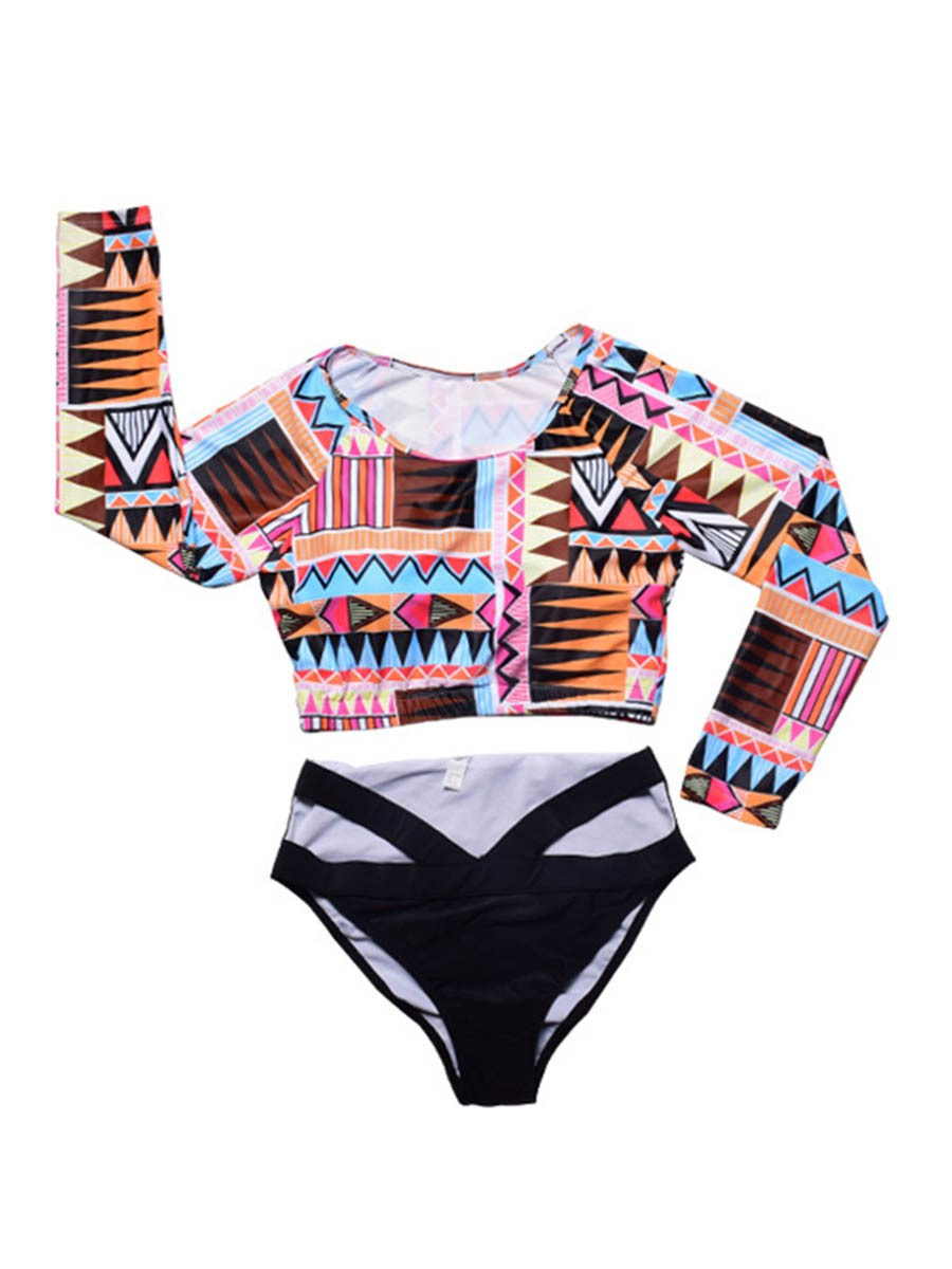 Ericdress Plus Size Long Sleeve Dashiki African Print Tankini Set