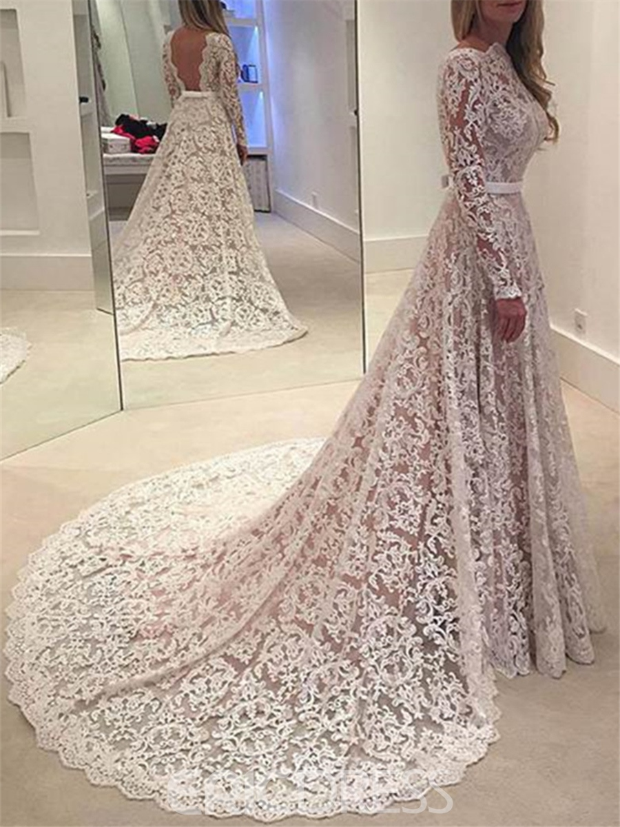 Ericdress Charming A Line Long Sleeves Backless Lace Wedding Dress ...