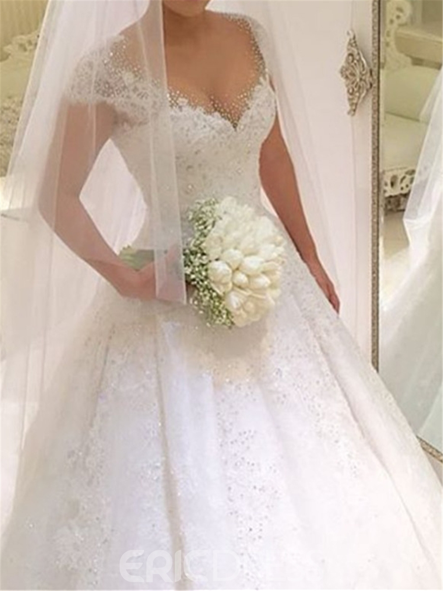 Ericdress Ball Gown Tulle Cap Sleeves Wedding Dress