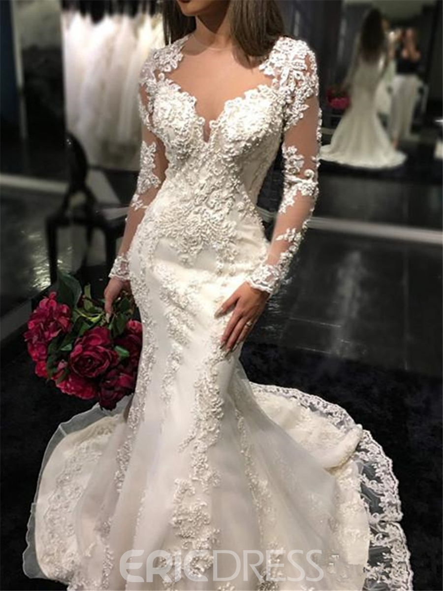 Ericdress Button Sheer Back Lace Long Sleeves Wedding Dress