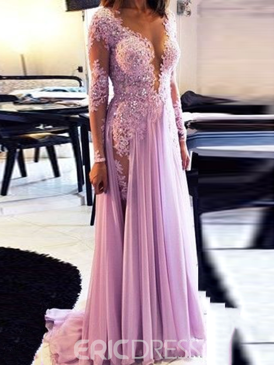 Ericdress A-Line Long Sleeve Appliques Beading Evening Dress With Brush Train