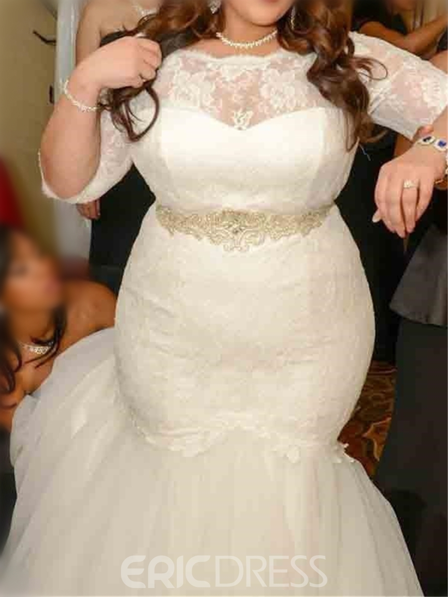 Ericdresss Beautiful Lace Mermaid Plus Size Wedding Dress