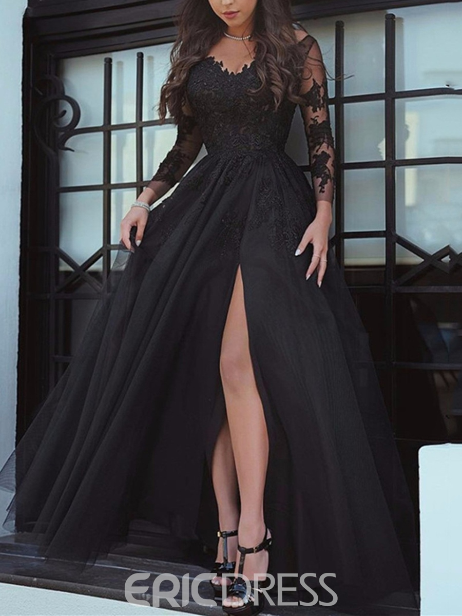 9a65708a26a6 Ericdress A Line Long Sleeve Applique Black Evening Gown With Side Slit