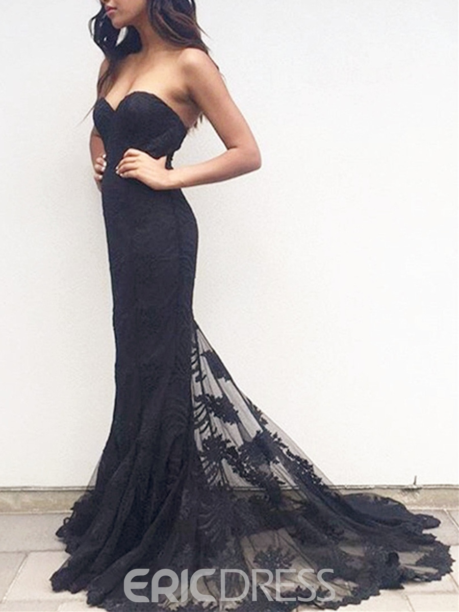 Ericdress Mermaid Sweetheart Appliques Lace Court Train Evening Dress