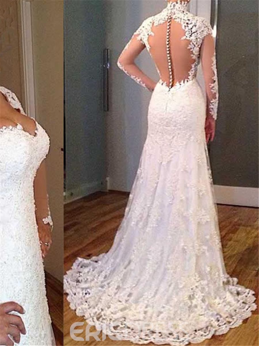 Ericdress Charming V Neck Appliques Open Back Wedding Dress With Sleeves