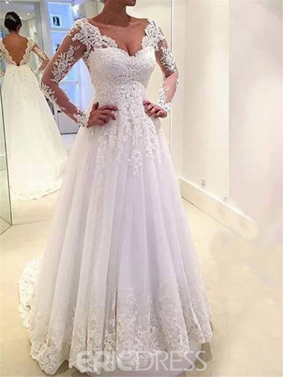 A Line Wedding Dresses.Ericdress Long Sleeves A Line Wedding Dress