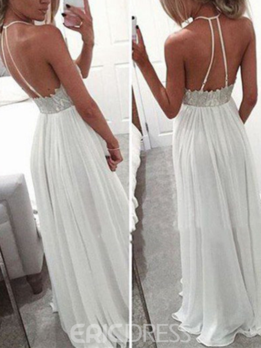 Ericdress A-Line Halter Lace Appliques Floor-Length Long Prom Dress