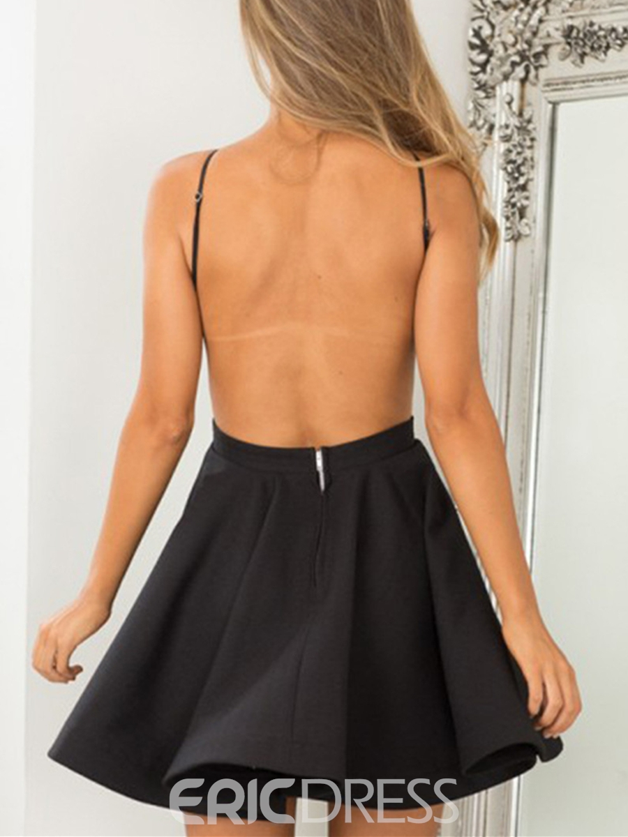 Ericdress A Line Halter Backless Short Black Cocktail Dress