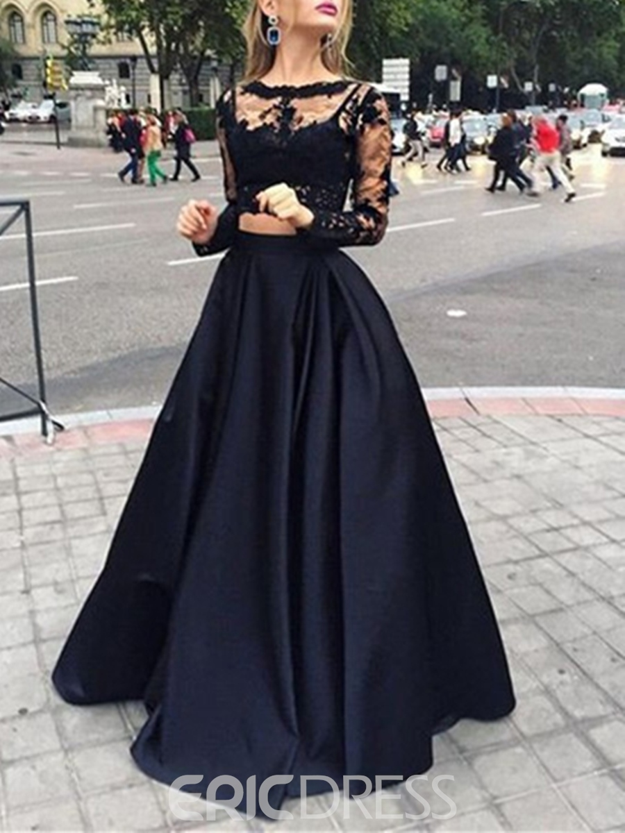 Ericdress Long Sleeves Two Pieces Lace Evening Dress