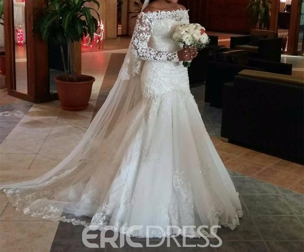 Wedding Dress Off The Shoulder Long Sleeves Mermaid