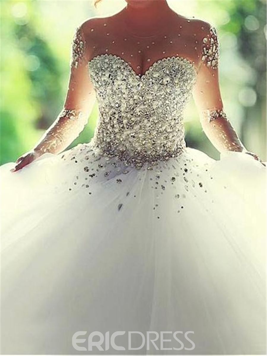 Ericdress Illusion Neck Beading Wedding Dress With Long