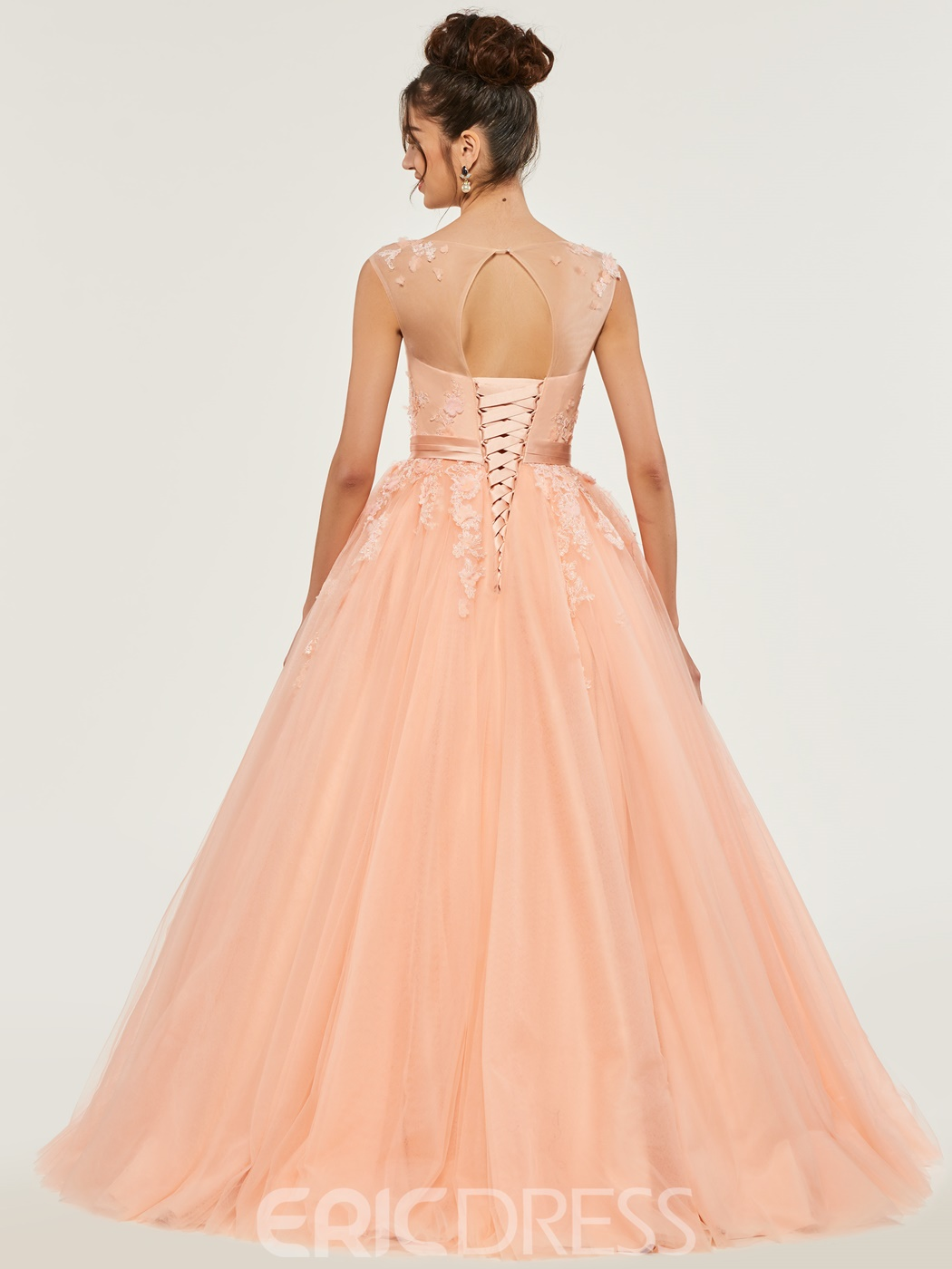 Ericdress Bateau Neck Applique Lace-Up Ball Gown